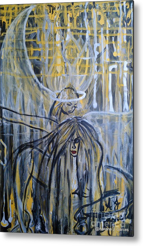 Figurative-abstract Metal Print featuring the painting Guardian Whisper by Adriana Garces