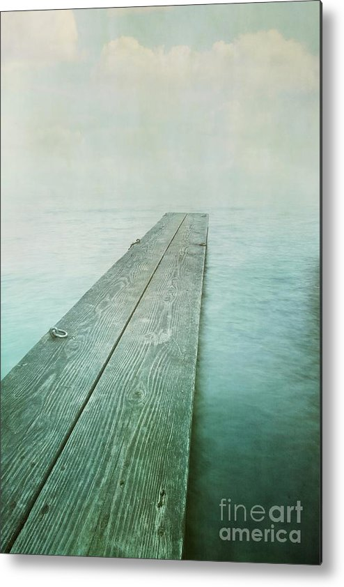 Photomanipulation Metal Print featuring the photograph Jetty by Priska Wettstein