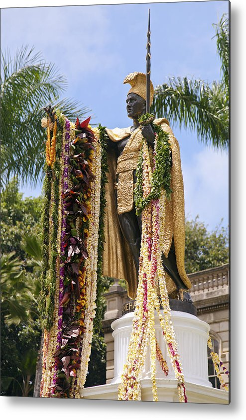 Aliiolani Metal Print featuring the photograph Kamehameha Covered In Leis by Brandon Tabiolo