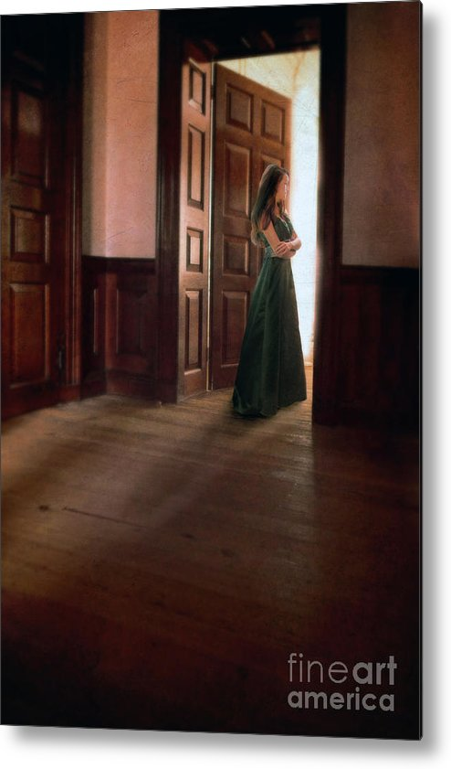 Beautiful Metal Print featuring the photograph Lady In Green Gown In Doorway by Jill Battaglia