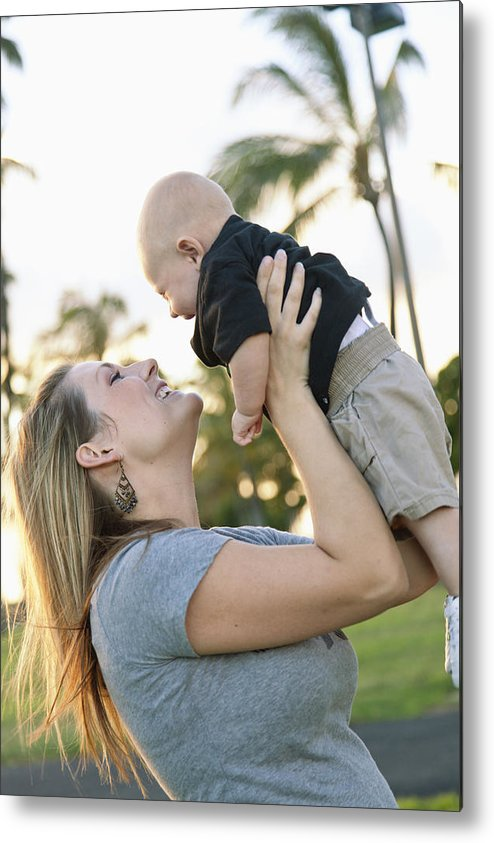 Ala Moana Metal Print featuring the photograph Mother And Baby by Brandon Tabiolo