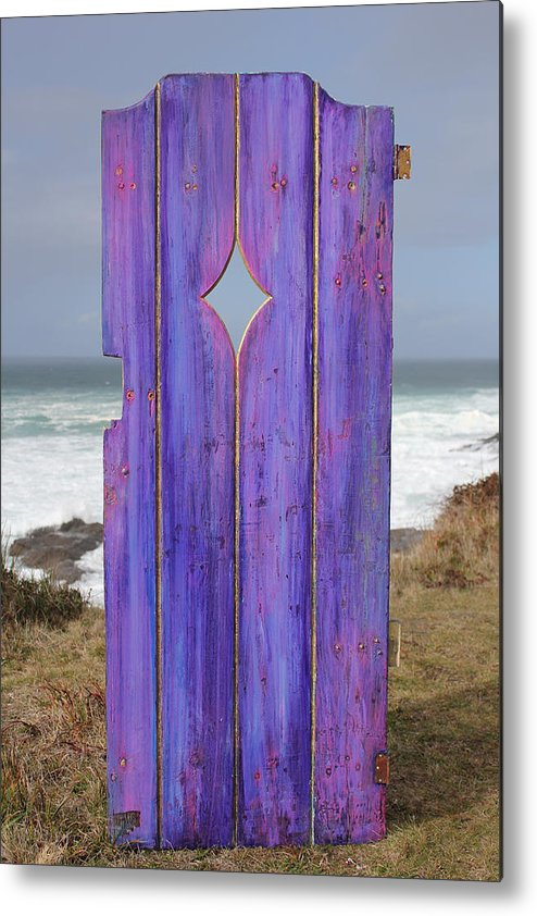 Painted Garden Gate Metal Print featuring the painting Purple Gateway To The Sea by Asha Carolyn Young