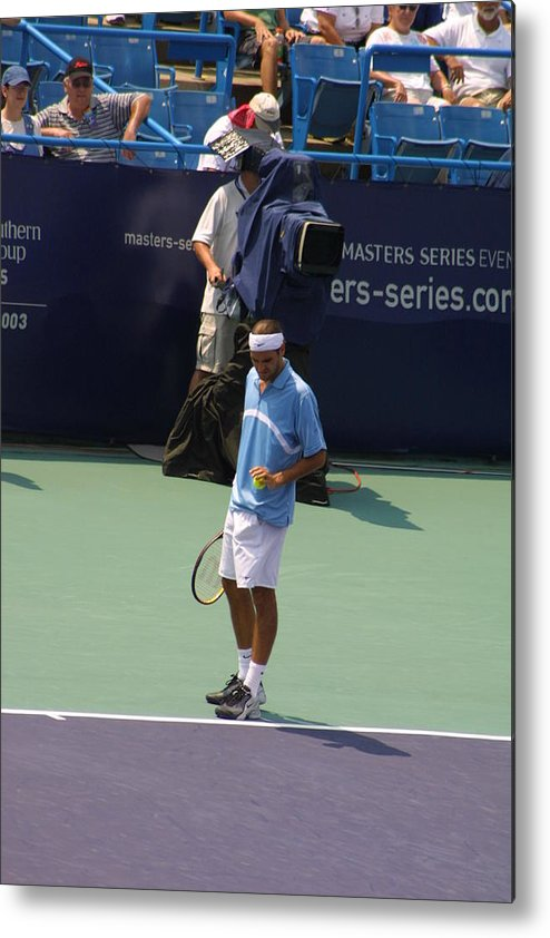 Roger Federer Metal Print featuring the photograph Roger Federer After 1st Slam by Rexford L Powell