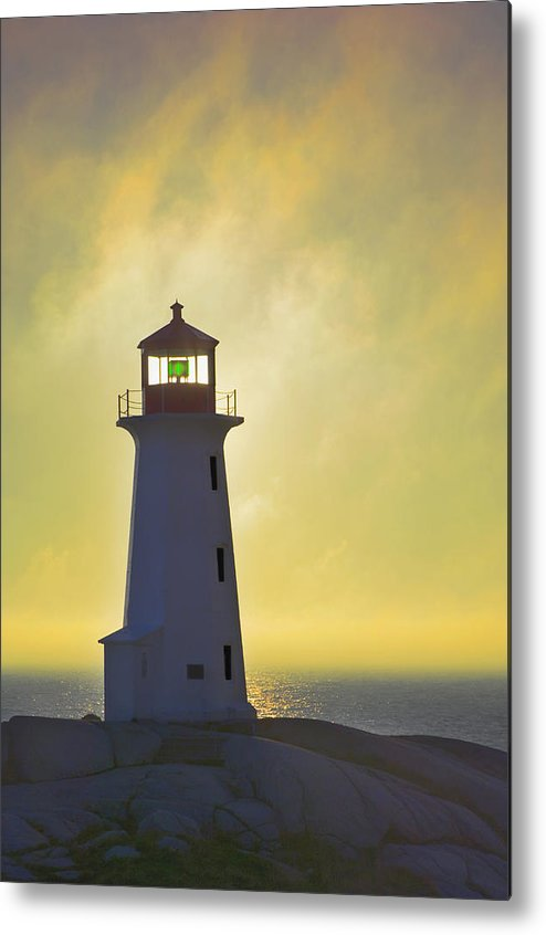 Beacons Metal Print featuring the photograph Sunset Over Peggys Cove Lighthouse by Thomas Kitchin & Victoria Hurst
