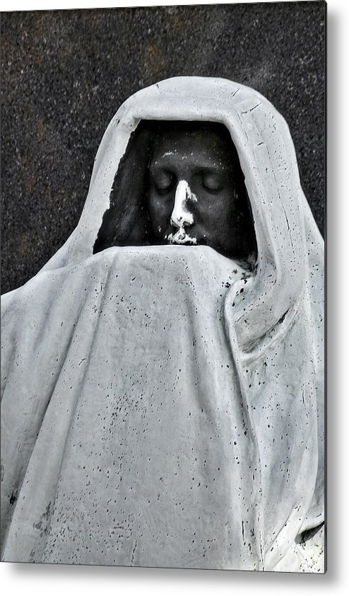 Graveyard Metal Print featuring the photograph The Face Of Death - Graceland Cemetery Chicago by Christine Till