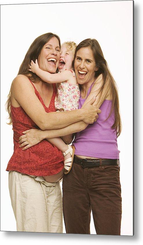 Three Quarter Length Metal Print featuring the photograph Two Mature Women  Hugging Girl (2-