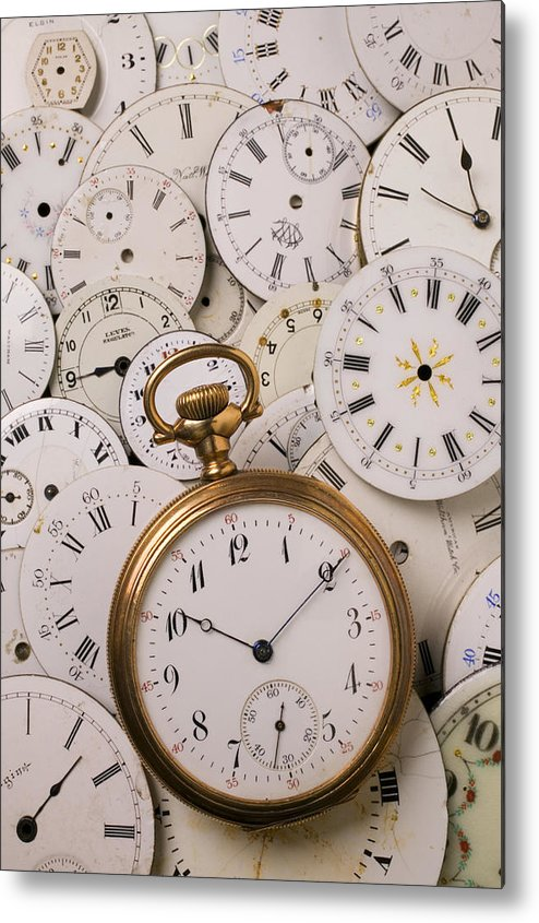 Time Metal Print featuring the photograph Old Pocket Watch On Dail Faces by Garry Gay