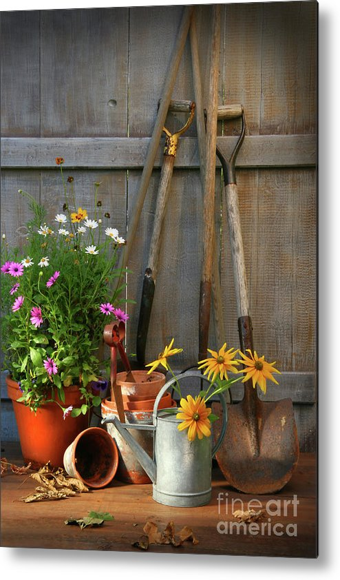 Activity Metal Print featuring the photograph Garden Shed With Tools And Pots by Sandra Cunningham