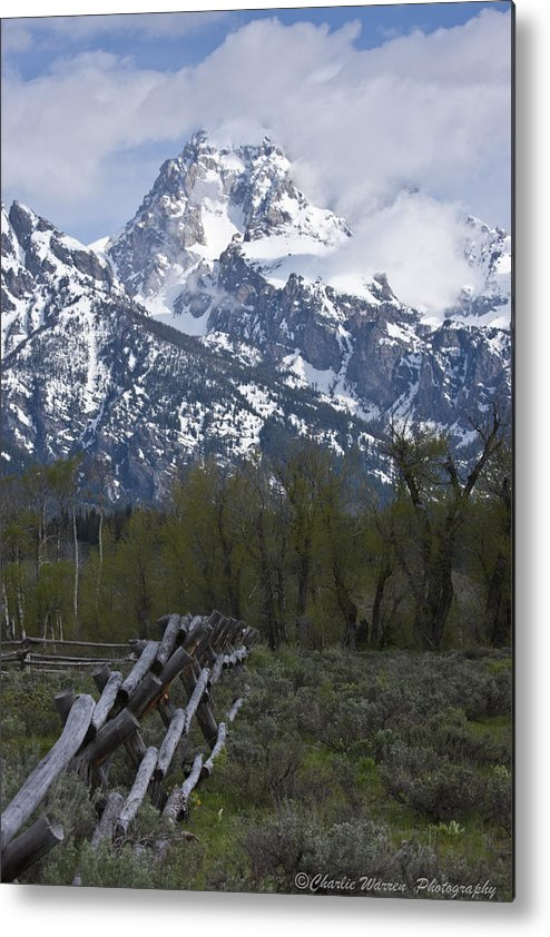 Grand Tetons Metal Print featuring the photograph Grand Teton Fence by Charles Warren