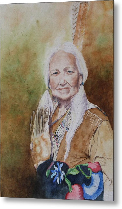 Native American Spirit Portrait Metal Print featuring the painting Grandmother Many Horses by Patsy Sharpe