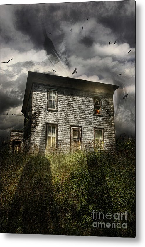 Aged Metal Print featuring the photograph Old Ababdoned House With Flying Ghosts by Sandra Cunningham