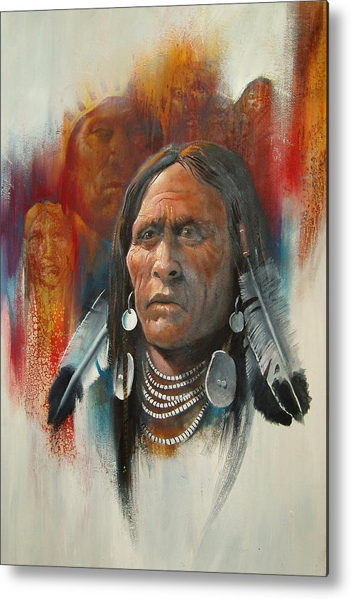 Oil Metal Print featuring the painting Plainsman by Robert Carver