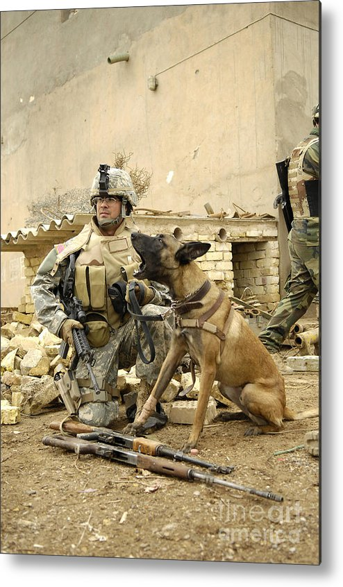 Friendship Metal Print featuring the photograph A Dog Handler And His Military Working by Stocktrek Images