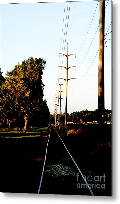 Train Track Metal Print featuring the photograph In Line by Jamie Lynn