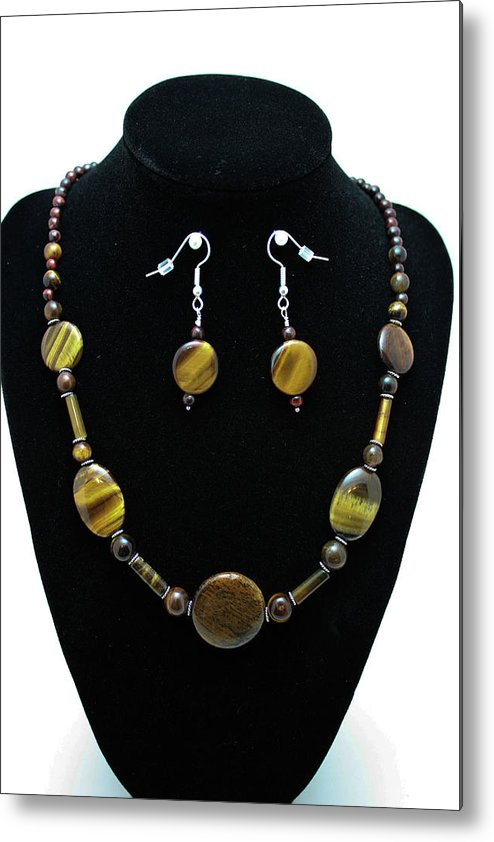 Jewelry Metal Print featuring the jewelry 3510 Tiger Eye Set by Teresa Mucha