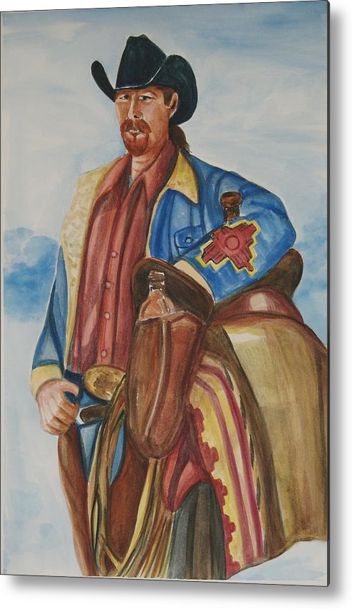 Cowboy Art Metal Print featuring the painting A Texas Horseman by George Chacon