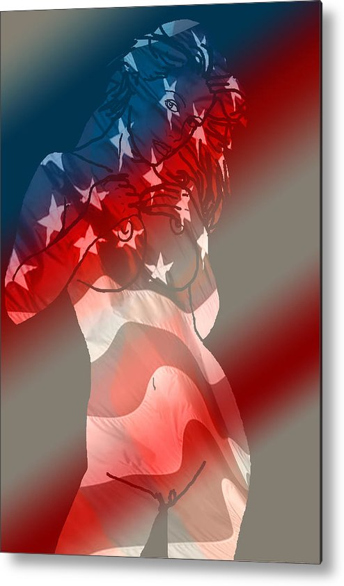 Nude Art Metal Print featuring the painting America by Tbone Oliver