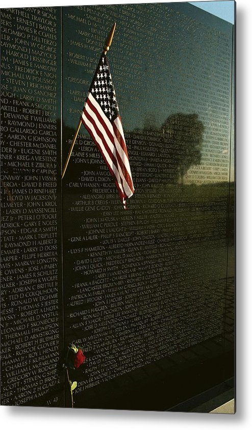 american National Flag Metal Print featuring the photograph American Flag Left At The Vietnam by Medford Taylor