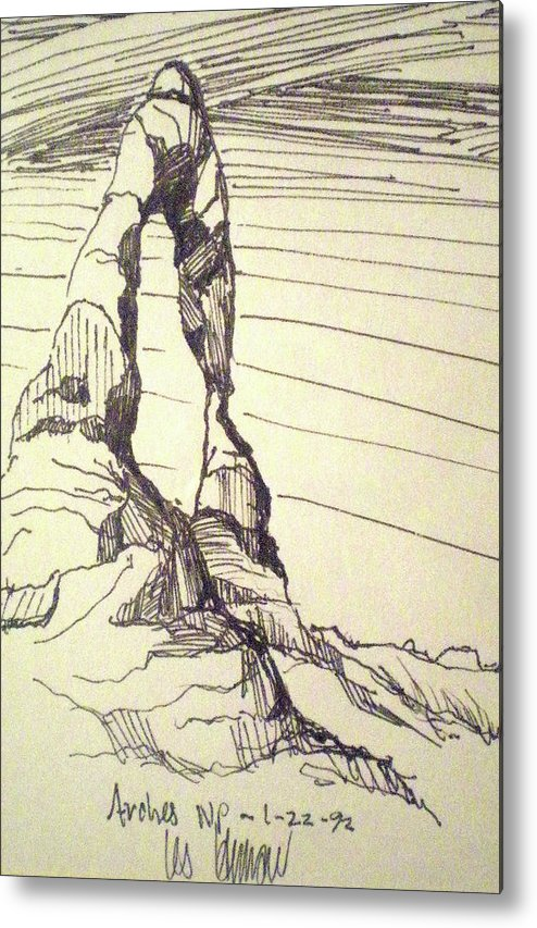 National Park Metal Print featuring the drawing Arches Np by Les Herman