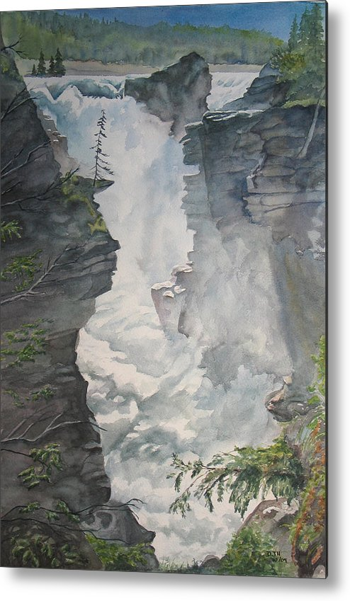 Athabasca Metal Print featuring the painting Athabasca Falls Alberta by Debbie Homewood