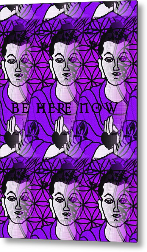 Buddha Metal Print featuring the digital art Be Here Now Buddha by Gia Simone