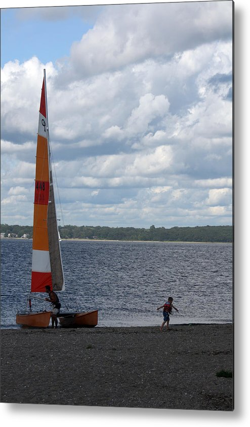 Beach Metal Print featuring the photograph Beached Catamaran by Jeff Porter