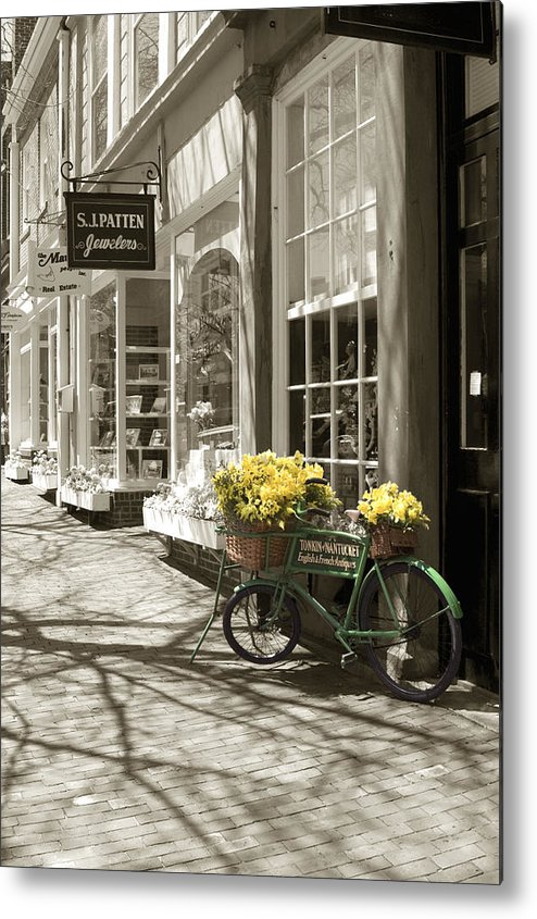 Floral Metal Print featuring the photograph Bicycle With Flowers - Nantucket by Henry Krauzyk