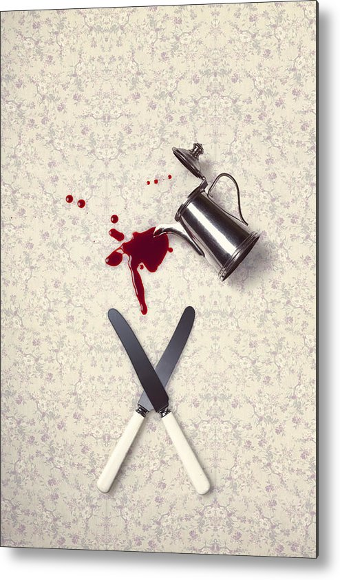 Knife Metal Print featuring the photograph Bloody Dining Table by Joana Kruse