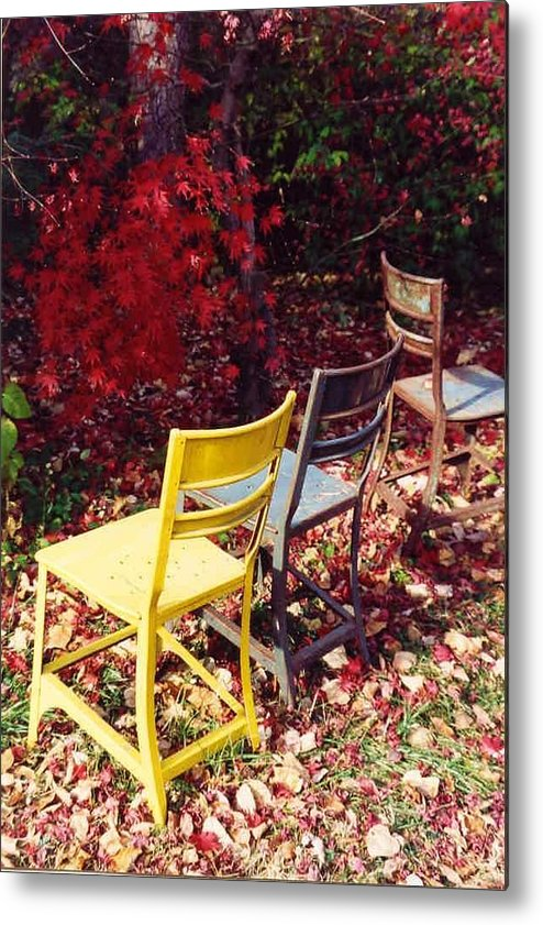 Fall Landscape Metal Print featuring the photograph Chairs by Evelynn Eighmey