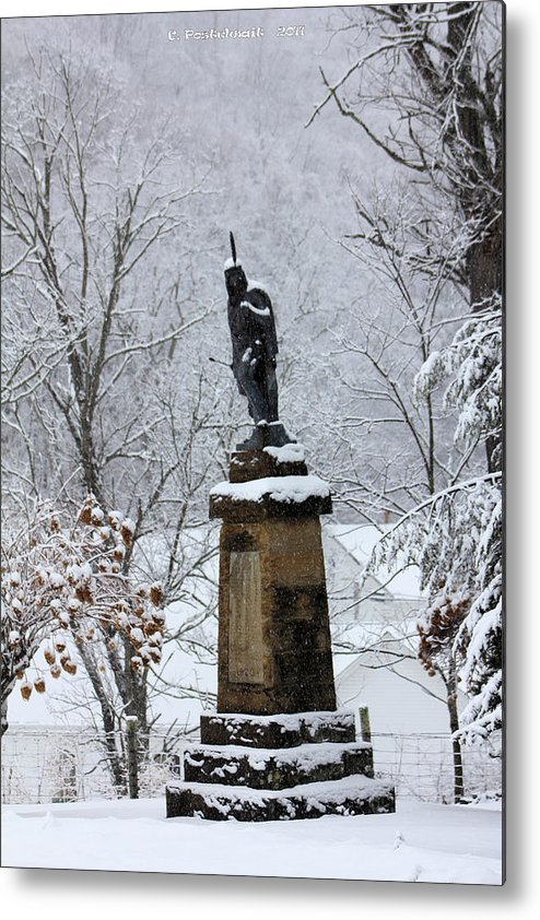 Chief John Logan Statue Metal Print featuring the photograph Chief John Logan Statue In The Snow by Carolyn Postelwait