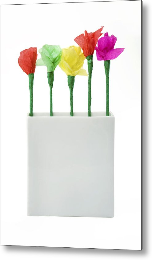 Flower Metal Print featuring the photograph Child's Paper Flower by Jacek Sopotnicki