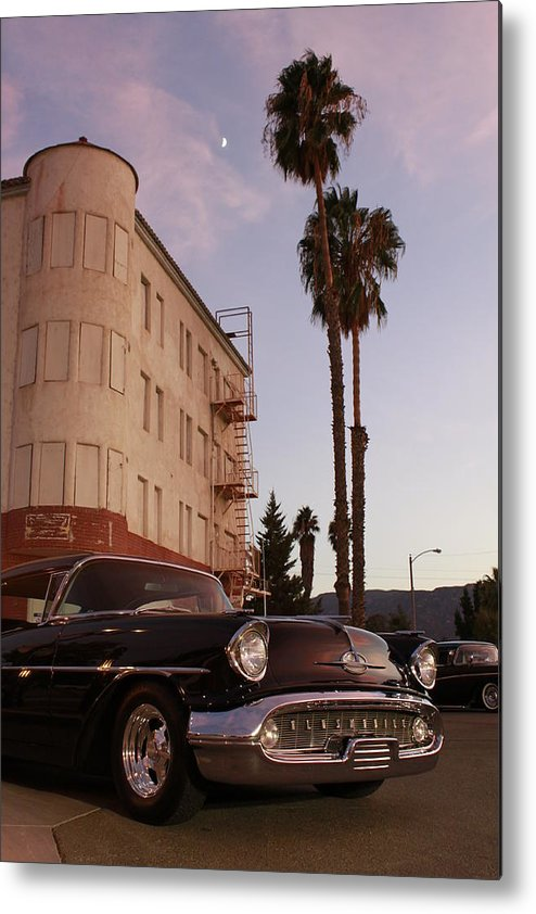 Car Chrysler Wheels Hotel Lake-elsinore Car-show Street Palm Tree Sun-set Metal Print featuring the photograph Classic At Sunset by Lawrence Costales