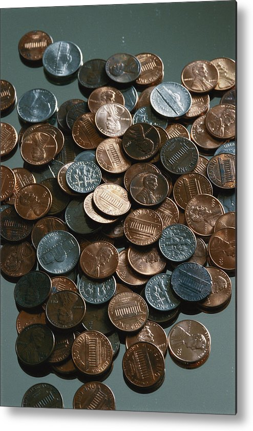 american Coins Metal Print featuring the photograph Close View Of United States Coins by Vlad Kharitonov