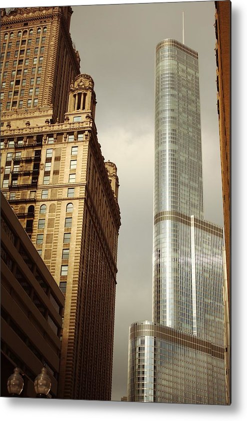 Chicago Metal Print featuring the pyrography Cool Metal by Xiaoting Kuang