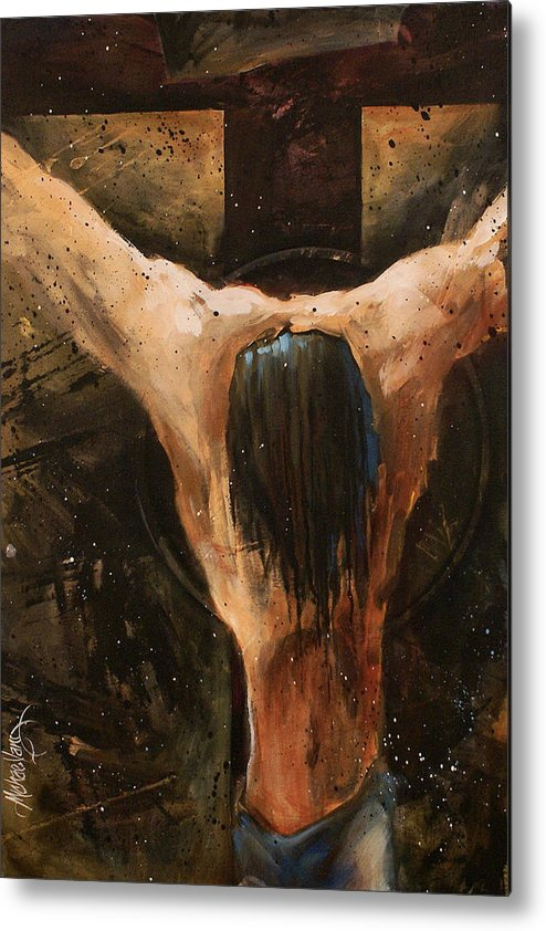 Crucifix Metal Print featuring the painting Cross by Michael Lang