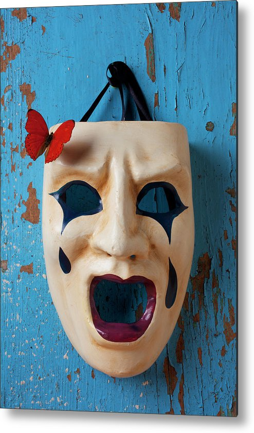 Crying Metal Print featuring the photograph Crying Mask And Red Butterfly by Garry Gay