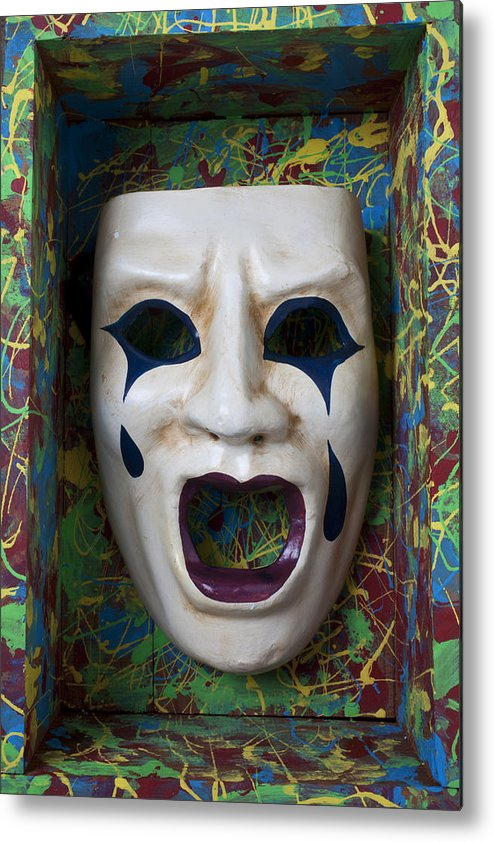 Crying Metal Print featuring the photograph Crying Mask In Box by Garry Gay