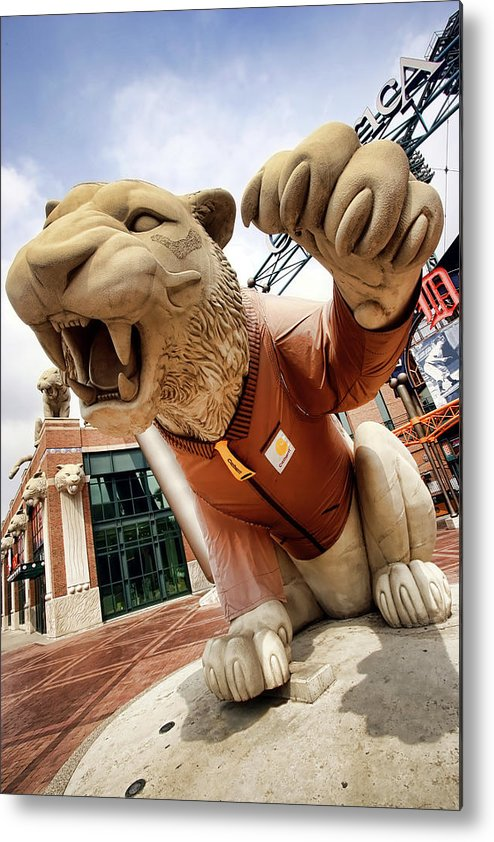 Detroit Metal Print featuring the photograph Detroit Tigers Tiger Statue Outside Of Comerica Park Detroit Michigan by Gordon Dean II