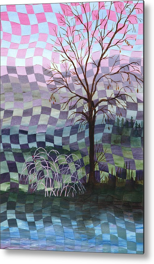 Tree Metal Print featuring the painting Down By The River by Linda L Doucette