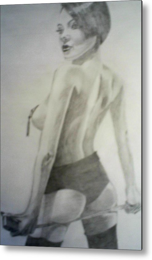 Model Metal Print featuring the drawing drawing of Vikki Blows by James Dolan