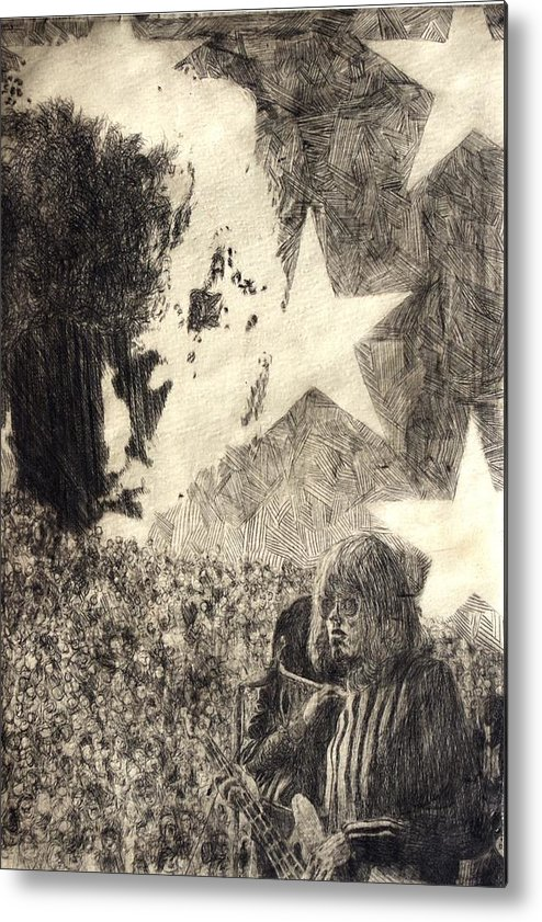 Music Metal Print featuring the drawing Dreaming by Rick Ahlvers