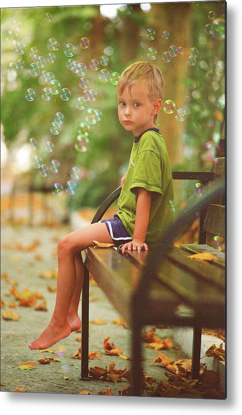 Boy Metal Print featuring the pyrography Dreams by Vladimir Zotov