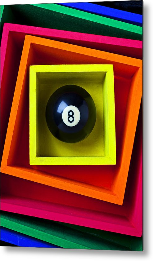 Pool Metal Print featuring the photograph Eight Ball In Box by Garry Gay