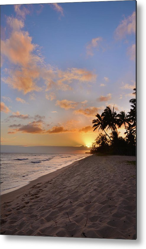 Ewa Beach State Park Palm Tree Sunset Oahu Hawaii Hi Metal Print featuring the photograph Ewa Beach Sunset 2 - Oahu Hawaii by Brian Harig