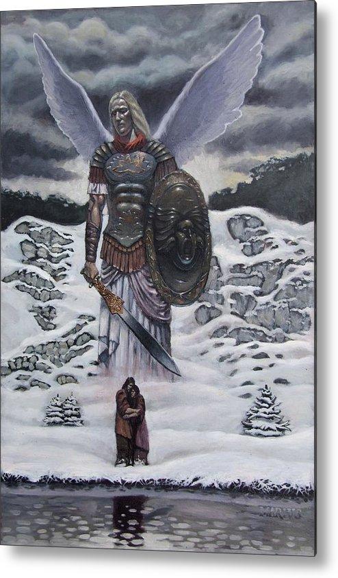 Surreal Metal Print featuring the painting Exsilivm by Mariusz Loszakiewicz