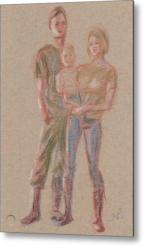 Portrait Metal Print featuring the painting Family by Horacio Prada