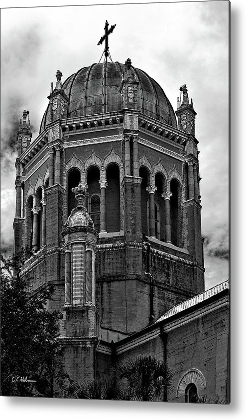 Florida Metal Print featuring the photograph Flagler Memorial Presbyterian Church 3 B-w by Christopher Holmes