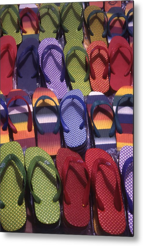 Abstract Metal Print featuring the photograph Flip Flops by Steve Outram