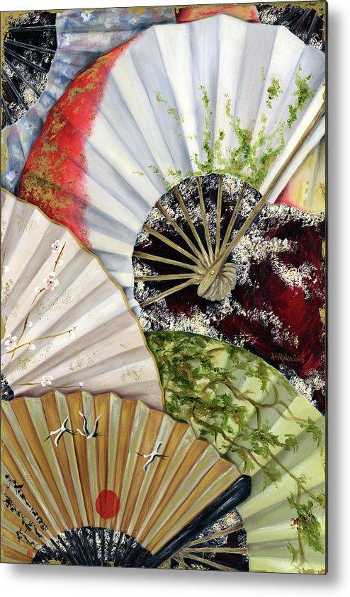 Japanese Metal Print featuring the painting Flower Garden by Hiroko Sakai