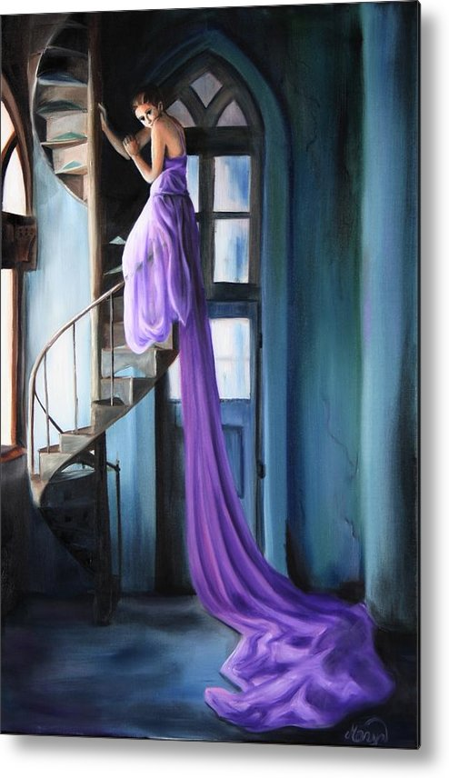 Girl Metal Print featuring the painting Girl On Staircase by Maryn Crawford